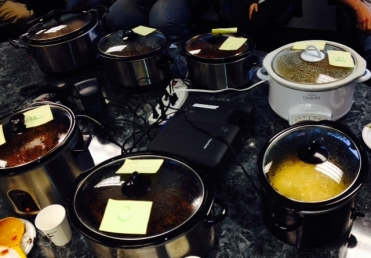 The conference room was converted in to a buffet of Crock Pots